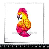 Шаблон для броши Попугай жёлто-розовый, фетр Корея Премиум, толщина 1,25 мм, размер 10*10 см 063048 - 99 бусин