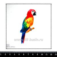 Шаблон для броши Попугай на веточке, фетр Корея Премиум, толщина 1,25 мм, размер 10*10 см 063049 - 99 бусин