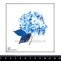 Шаблон для броши Нежно-голубая гортензия, фетр Корея Премиум, толщина 1,25 мм, размер 10*10 см 063058 - 99 бусин