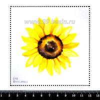 Шаблон для броши Подсолнух акварельный, фетр Корея Премиум, толщина 1,25 мм, размер 10*10 см 063062 - 99 бусин