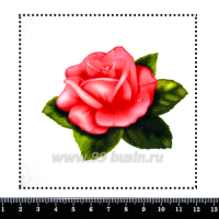 Шаблон для броши Розовая роза, фетр Корея Премиум, толщина 1,25 мм, размер 10*10 см 063075 - 99 бусин