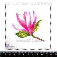 Шаблон для броши Розовая магнолия, фетр Корея Премиум, толщина 1,25 мм, размер 10*10 см 063076 - 99 бусин