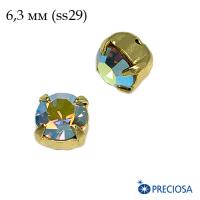 Шатоны (стразы) PRECIOSA MAXIMA пришивные хрустальные, размер ss-29 (6,3 мм), цвет Light colorado Topaz AB/gold 1штука, Чехия 063082 - 99 бусин