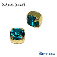 Шатоны (стразы) PRECIOSA MAXIMA пришивные хрустальные, размер ss-29 (6,3 мм), цвет Blue Zircon/gold 1штука, Чехия 063084 - 99 бусин