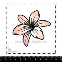 Шаблон для броши Лилия светло-розовая, фетр Корея Премиум, толщина 1,25 мм, размер 10*10 см 063087 - 99 бусин