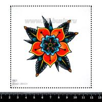 Шаблон для броши Тату цветок, фетр Корея Премиум, толщина 1,25 мм, размер 10*10 см 063088 - 99 бусин