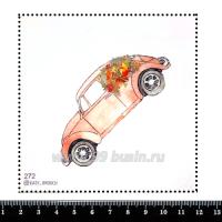 Шаблон для броши Машина с цветами, фетр Корея Премиум, толщина 1,25 мм, размер 10*10 см 063100 - 99 бусин