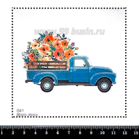 Шаблон для броши Грузовичок с цветами, фетр Корея Премиум, толщина 1,25 мм, размер 10*10 см 063101 - 99 бусин