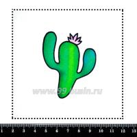 Шаблон для броши Кактус с цветочком, фетр Корея Премиум, толщина 1,25 мм, размер 10*10 см 063103 - 99 бусин
