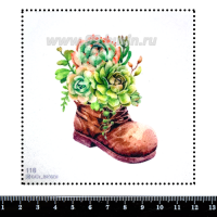 Шаблон для броши Башмачок с суккулентами, фетр Корея Премиум, толщина 1,25 мм, размер 10*10 см 063104 - 99 бусин