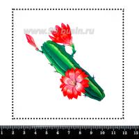 Шаблон для броши Кактус в красных цветах, фетр Корея Премиум, толщина 1,25 мм, размер 10*10 см 063107 - 99 бусин
