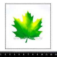 Шаблон для броши Зеленый кленовый лист 438, фетр Корея Премиум, толщина 1,25 мм, размер 10*10 см 063115 - 99 бусин