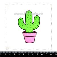Шаблон для броши Кактус в розовом горшочке, фетр Корея Премиум, толщина 1,25 мм, размер 10*10 см 063116 - 99 бусин