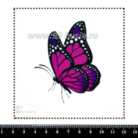 Шаблон для броши Фиолетово-розовая бабочка, фетр Корея Премиум, толщина 1,25 мм, размер 10*10 см 063144 - 99 бусин