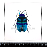Шаблон для броши Жук бирюзовый/фиолетовый, фетр Корея Премиум, толщина 1,25 мм, размер 10*10 см 063152 - 99 бусин