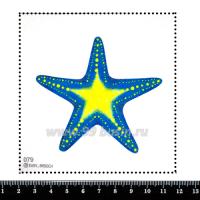 Шаблон для броши Морская голубой/жёлтый, фетр Корея Премиум, толщина 1,25 мм, размер 10*10 см 063171 - 99 бусин