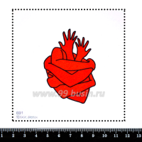 Шаблон для броши Сердце из рук, фетр Корея Премиум, толщина 1,25 мм, размер 10*10 см 063185 - 99 бусин