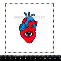 Шаблон для броши Сердце с глазом, фетр Корея Премиум, толщина 1,25 мм, размер 10*10 см 063186 - 99 бусин