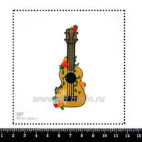 Шаблон для броши Гитара в цветочках, фетр Корея Премиум, толщина 1,25 мм, размер 10*10 см 063189 - 99 бусин