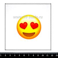 "Шаблон для броши Смайл ""Глаза сердечки"", фетр Корея Премиум, толщина 1,25 мм, размер 10*10 см 063192 - 99 бусин"