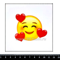 "Шаблон для броши Смайл ""Влюблённый"", фетр Корея Премиум, толщина 1,25 мм, размер 10*10 см 063193 - 99 бусин"