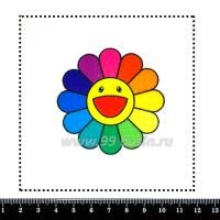Шаблон для броши Радужная ромашка, фетр Корея Премиум, толщина 1,25 мм, размер 10*10 см 063201 - 99 бусин