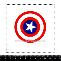 Шаблон для броши Щит капитана Америка, фетр Корея Премиум, толщина 1,25 мм, размер 10*10 см 063227 - 99 бусин