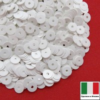 Пайетки Италия лаковые 6 мм цвет Bianco (белый) 3 грамма 063232 - 99 бусин