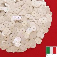Пайетки Италия плоские 5 мм Bianco Iridato (белый непрозрачный радужный) 3 грамма 063238 - 99 бусин
