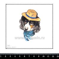 Шаблон для броши Спаниель в синем шарфе 743, фетр Корея Премиум, толщина 1,25 мм, размер 10*10 см 063246 - 99 бусин