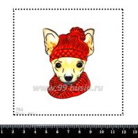 Шаблон для броши Чихуахуа в красном 753, фетр Корея Премиум, толщина 1,25 мм, размер 10*10 см 063253 - 99 бусин