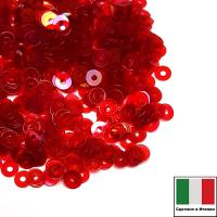 Пайетки Италия плоские 3 мм Rosso trasparente Iridato I08 (Красный прозрачный радужный) 3 грамма 063258 - 99 бусин