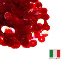 Пайетки Италия плоские 5 мм Rosso trasparente Iridato I08 (Красный прозрачный радужный) 3 грамма 063259 - 99 бусин