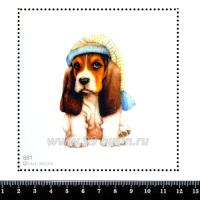 Шаблон для броши Малыш бигль в шапочке, фетр Корея Премиум, толщина 1,25 мм, размер 10*10 см 063297 - 99 бусин