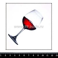 Шаблон для броши Бокал красного вина, фетр Корея Премиум, толщина 1,25 мм, размер 10*10 см 063309 - 99 бусин