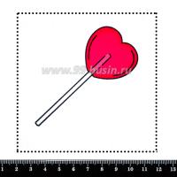 Шаблон для броши Леденец сердечко, фетр Корея Премиум, толщина 1,25 мм, размер 10*10 см 063311 - 99 бусин