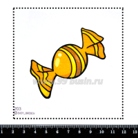 Шаблон для броши Конфетка оранжевый/жёлтый, фетр Корея Премиум, толщина 1,25 мм, размер 10*10 см 063314 - 99 бусин