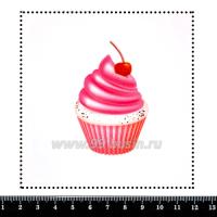 Шаблон для броши Капкейк розовый, фетр Корея Премиум, толщина 1,25 мм, размер 10*10 см 063315 - 99 бусин