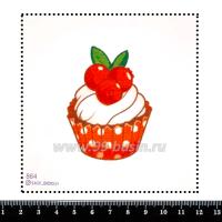 Шаблон для броши Капкейк красный, фетр Корея Премиум, толщина 1,25 мм, размер 10*10 см 063316 - 99 бусин