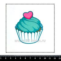 Шаблон для броши Капкейк с сердечком, фетр Корея Премиум, толщина 1,25 мм, размер 10*10 см 063317 - 99 бусин