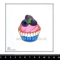 Шаблон для броши Капкейк ежевичный, фетр Корея Премиум, толщина 1,25 мм, размер 10*10 см 063319 - 99 бусин
