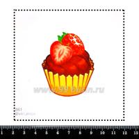 Шаблон для броши Кексик клубничный, фетр Корея Премиум, толщина 1,25 мм, размер 10*10 см 063320 - 99 бусин