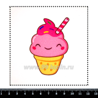 Шаблон для броши Кавайная мороженка в рожке, фетр Корея Премиум, толщина 1,25 мм, размер 10*10 см 063323 - 99 бусин