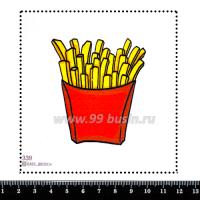 Шаблон для броши Картошка Фри, фетр Корея Премиум, толщина 1,25 мм, размер 10*10 см 063327 - 99 бусин