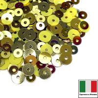 Микс пайеток ТОРТОНА (Плоские 3 мм MI07, 216W, 4 мм 2071, 2134, 2011) золотисто-жёлтый, Италия 3 грамма 063339 - 99 бусин