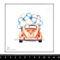 Шаблон для броши Красная машинка с шариками 759, фетр Корея Премиум, толщина 1,25 мм, размер 10*10 см 063342 - 99 бусин