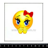 """Шаблон для броши Смайлик """"Смущённое личико"""", фетр Корея Премиум, толщина 1,25 мм, размер 10*10 см 063355 - 99 бусин"""