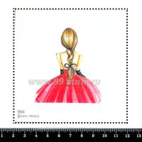 Шаблон для броши Девушка в розовом платье и чёрных перчатках 994, фетр Корея Премиум, толщина 1,25 мм, размер 10*10 см 063363 - 99 бусин