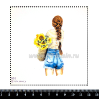 Шаблон для броши Девушка в шортах с подсолнухами 991, фетр Корея Премиум, толщина 1,25 мм, размер 10*10 см 063365 - 99 бусин