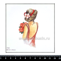 Шаблон для броши Девушка в платье с открытой спиной 799, фетр Корея Премиум, толщина 1,25 мм, размер 10*10 см 063366 - 99 бусин